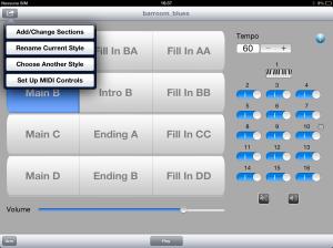 Menu di sistema MIDI Band