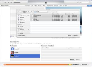 FIle Sharing di iTune con il quale è possibile caricare nuovi styles su MIDI Band